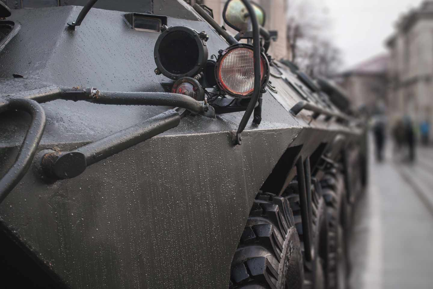 Close up of armored vehicle